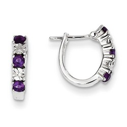 Amethyst & Diamond Earrings in 925 Sterling Silver 13x2mm 1.51gr 0.37ct