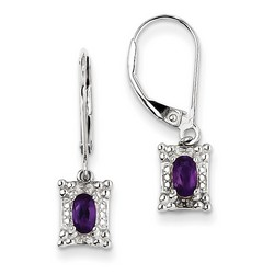 Amethyst & Diamond Earrings in 925 Sterling Silver 24x6mm 1.97gr 0.44ct