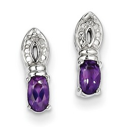 Amethyst & Diamond Earrings in 925 Sterling Silver 12x4mm 1.44gr 0.44ct