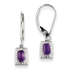Amethyst & Diamond Earrings in 925 Sterling Silver 24x5mm 1.75gr 0.5ct