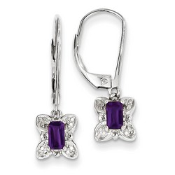 Amethyst & Diamond Earrings in 925 Sterling Silver 25x7mm 2.57gr 0.49ct