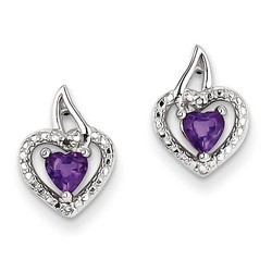 Amethyst & Diamond Earrings in 925 Sterling Silver 12x10mm 1.96gr 0.47ct