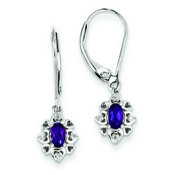 Amethyst & Diamond Earrings in 925 Sterling Silver 25x7mm 1.82gr 0.43ct