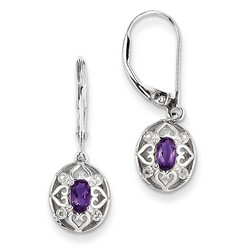 Amethyst & Diamond Earrings in 925 Sterling Silver 26x9mm 1.87gr 0.43ct