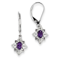 Amethyst & Diamond Earrings in 925 Sterling Silver 27x10mm 1.88gr 0.45ct
