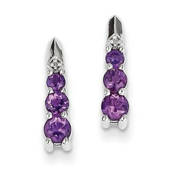 Amethyst & Diamond Earrings in 925 Sterling Silver 14x4mm 1.62gr 0.63ct