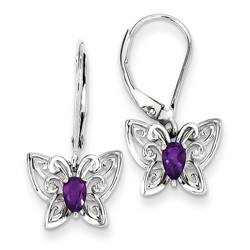 Amethyst & Diamond Earrings in 925 Sterling Silver 23x12mm 1.75gr 0.41ct