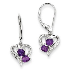 Amethyst & Diamond Earrings in 925 Sterling Silver 27x10mm 2.63gr 0.45ct