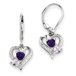 Amethyst & Diamond Earrings in 925 Sterling Silver 27x10mm 2.57gr 0.88ct