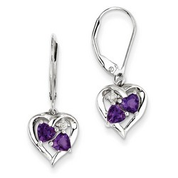 Amethyst & Diamond Earrings in 925 Sterling Silver 27x10mm 2.42gr 0.46ct