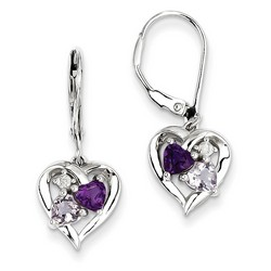 Amethyst & Diamond Earrings in 925 Sterling Silver 27x10mm 2.41gr 0.91ct
