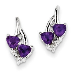 Amethyst & Diamond Earrings in 925 Sterling Silver 14x8mm 1.62gr 0.47ct