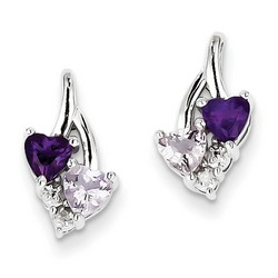 Amethyst & Diamond Earrings in 925 Sterling Silver 14x8mm 1.72gr 0.92ct