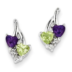 Amethyst & Diamond Earrings in 925 Sterling Silver 14x8mm 1.62gr 0.48ct