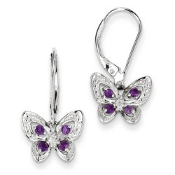 Amethyst & Diamond Earrings in 925 Sterling Silver 23x12mm 1.87gr 0.25ct