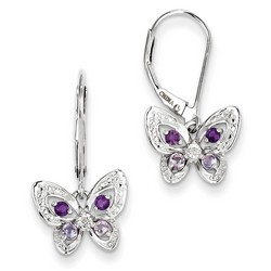 Amethyst & Diamond Earrings in 925 Sterling Silver 23x12mm 1.87gr 0.26ct
