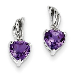 Amethyst & Diamond Earrings in 925 Sterling Silver 13x5mm 1.77gr 1.1ct