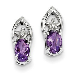 Amethyst & Diamond Earrings in 925 Sterling Silver 12x5mm 1.5gr 0.74ct