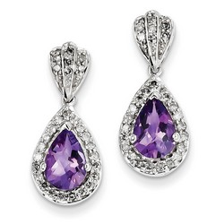 Amethyst & Diamond Earrings in 925 Sterling Silver 23x10mm 2.78gr 2.1ct
