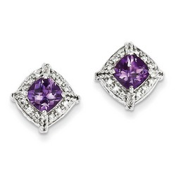 Amethyst & Diamond Earrings in 925 Sterling Silver 13x13mm 3gr 1.5ct