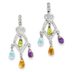 Amethyst & Blue Topaz & Citrine Dangle Earrings 925 Silver 38x16mm 2.8gr