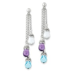 Amethyst & Blue Topaz & White Topaz Dangle Earrings 925 Silver 60x10mm 4.75gr