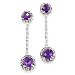 Amethyst & Diamond Circle Dangle Earrings in 925 Sterling Silver 38x10mm 3.49gr