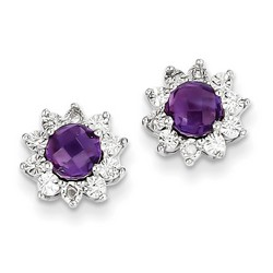 Amethyst & Diamond Earrings in 925 Sterling Silver 10x10mm 2.5gr