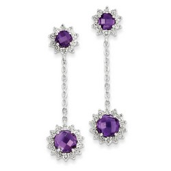 Amethyst & Diamond Circle Dangle Earrings in 925 Sterling Silver 42x10mm 4.67gr