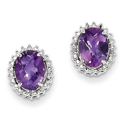 Amethyst & Diamond Earrings in 925 Sterling Silver 10x8mm 1.7gr 2.18ct