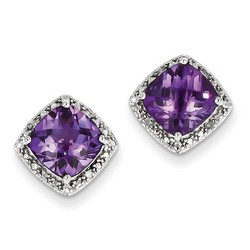 Amethyst & Diamond Earrings in 925 Sterling Silver 12x12mm 2.5gr 4.54ct
