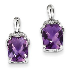 Amethyst & Diamond Earrings in 925 Sterling Silver 12x8mm 2.32gr 5.09ct