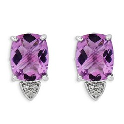 Amethyst & Diamond Earrings in 925 Sterling Silver 14x8mm 1.77gr 5.09ct