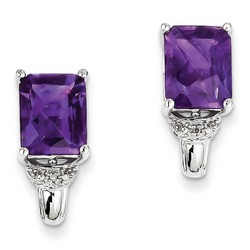 Amethyst & Diamond Earrings in 925 Sterling Silver 18x8mm 2.2gr 5.27ct