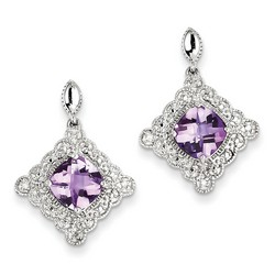 Amethyst & Diamond Earrings in 925 Sterling Silver 25x17mm 3.65gr 2.72ct