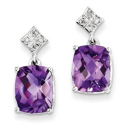 Amethyst & Diamond Earrings in 925 Sterling Silver 17x9mm 1.75gr 5.09ct