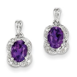 Amethyst & Diamond Earrings in 925 Sterling Silver 10x7mm 1.45gr 1.45ct