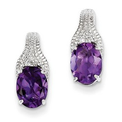 Amethyst & Diamond Earrings in 925 Sterling Silver 15x6mm 1.77gr 2.18ct