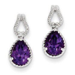 Amethyst & Diamond Earrings in 925 Sterling Silver 17x7mm 2.2gr 1.54ct