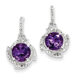 Amethyst & Diamond Earrings in 925 Sterling Silver 23x13mm 4.15gr 3.27ct