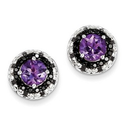 Amethyst & Diamond Earrings in 925 Sterling Silver 11x11mm 3.27gr 2.36ct