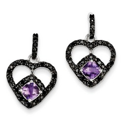 Amethyst & Diamond Earrings in 925 Sterling Silver 23x15mm 4.34gr 1.09ct