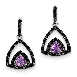 Amethyst & Diamond Earrings in 925 Sterling Silver 23x14mm 3.45gr 0.72ct