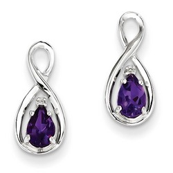 Amethyst & Diamond Earrings in 925 Sterling Silver 15x6mm 1.12gr 1.27ct