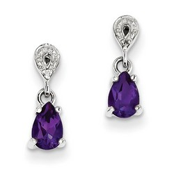 Amethyst & Diamond Earrings in 925 Sterling Silver 14x4mm 1gr 1.16ct