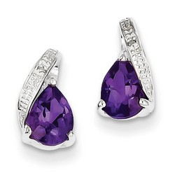 Amethyst & Diamond Earrings in 925 Sterling Silver 11x6mm 1.46gr 1.7ct