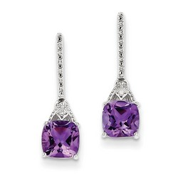 Amethyst & Diamond Earrings in 925 Sterling Silver 20x5mm 1.7gr 1.68ct
