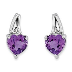 Amethyst & Diamond Earrings in 925 Sterling Silver 10x5mm 1.08gr 0.68ct