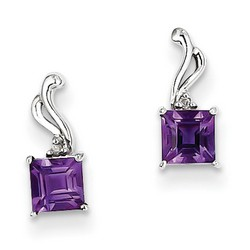 Amethyst & Diamond Earrings in 925 Sterling Silver 10x4mm 1.03gr 0.59ct