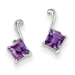 Amethyst & Diamond Earrings in 925 Sterling Silver 10x5mm 0.93gr 0.58ct